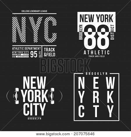 New York, Brooklyn Typography For T-shirt Print. Athletic Patches Collection For Tee Graphic. T-shir