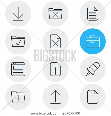 Editable Pack Of Delete, Note, Document And Other Elements.  Vector Illustration Of 12 Office Icons.