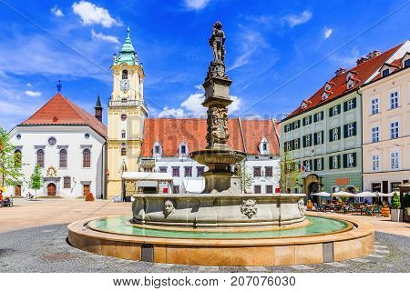 Bratislava Slovakia. View of Bratislava main square with the city hall in the background.
