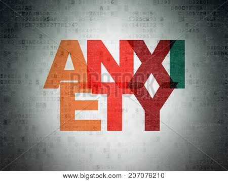 Healthcare concept: Painted multicolor text Anxiety on Digital Data Paper background