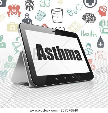 Health concept: Tablet Computer with  black text Asthma on display,  Hand Drawn Medicine Icons background, 3D rendering