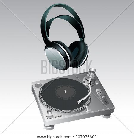 Turntable and Headphone DJ Style vector for use
