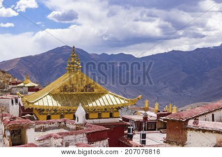 Close-up of Ganden Buddhist Monastery near Lhasa - Tibet
