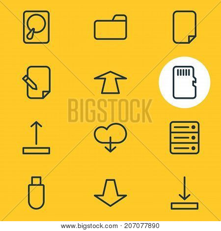 Editable Pack Of Arrow Up, Download, Agreement And Other Elements.  Vector Illustration Of 12 Archive Icons.