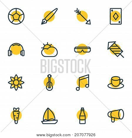 Editable Pack Of Earmuff, Veggie, Yacht And Other Elements.  Vector Illustration Of 16 Joy Icons.