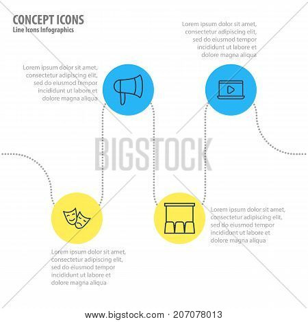 Editable Pack Of Monitor, Megaphone, Tragedy And Other Elements.  Vector Illustration Of 4 Film Icons.