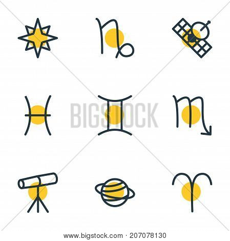 Editable Pack Of Fishes, Favorite, Zodiac Sign And Other Elements.  Vector Illustration Of 9 Astrology Icons.