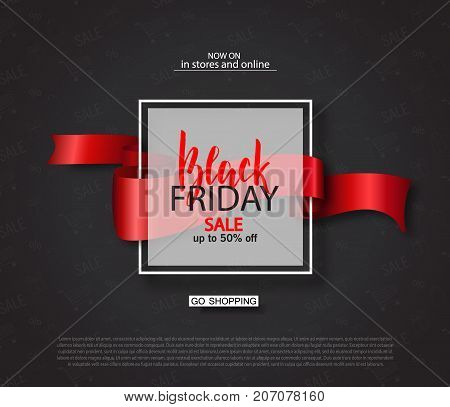 Black friday sale background with frame and ribbon. Modern design.Universal vector background for poster, banners, flyers, card
