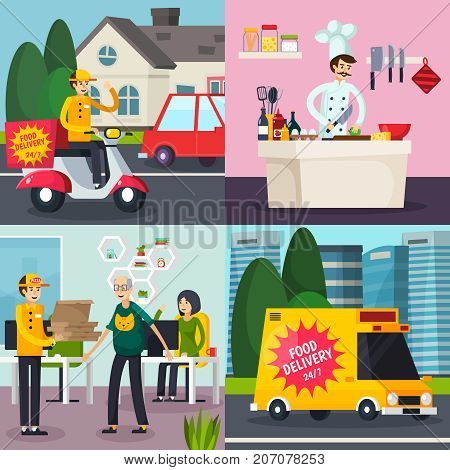 Catering orthogonal flat concept with cooking meal, food delivery, courier with order in office isolated vector illustration