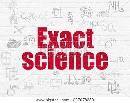 Science concept: Painted red text Exact Science on White Brick wall background with Scheme Of Hand Drawn Science Icons