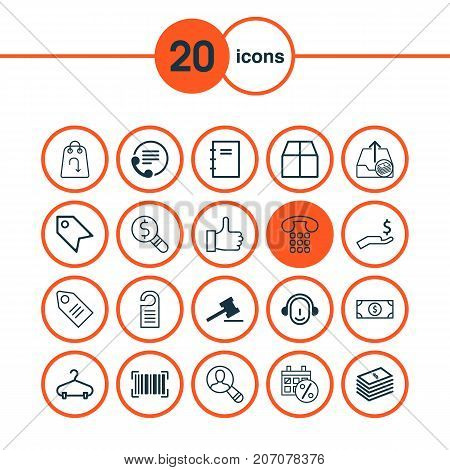 Ecommerce Icons Set. Collection Of Refund, Callcentre, Ticket And Other Elements