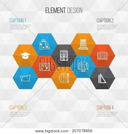 Education Icons Set. Collection Of Document Case, Academy, Graduation And Other Elements