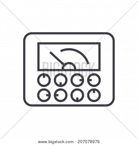 measurable indicators, gauge vector line icon, sign, illustration on white background, editable strokes