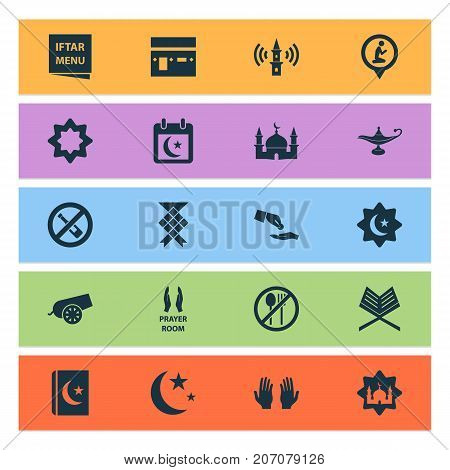 Religion Icons Set. Collection Of Lamp, Building, Holy Book And Other Elements