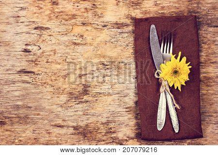 Fork, Knife, Napkin, Cutlery.