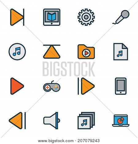 Music Colorful Outline Icons Set. Collection Of Gear, Eject, Microphone And Other Elements