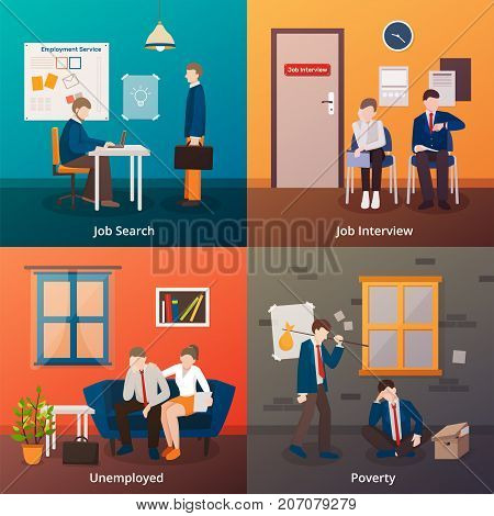 Unemployed people flat 2x2 design concept with faceless doodle human characters of unhappy dismissed office workers vector illustration