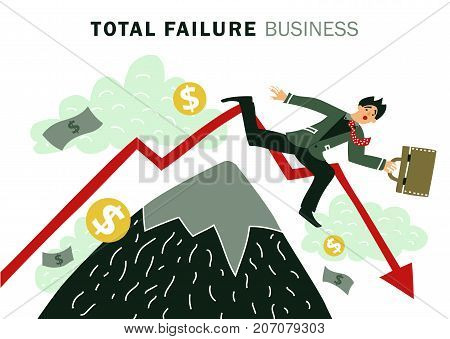 Colored flat failure business composition with total failure business description and businessman falls vector illustration