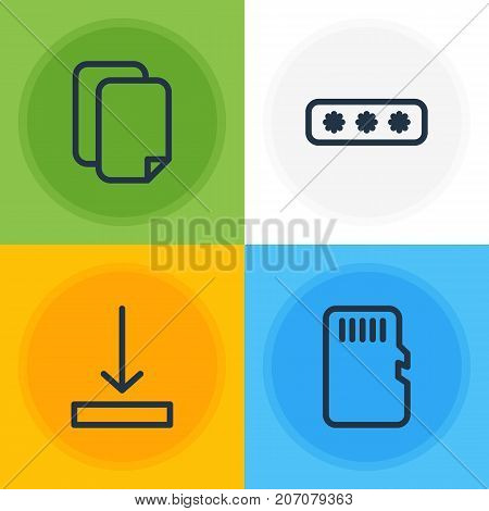 Editable Pack Of Download, Documents, Parole And Other Elements.  Vector Illustration Of 4 Archive Icons.