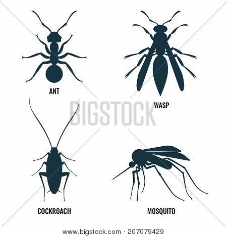 Ant and wasp, cockroach and mosquito, icons of harmful creatures, that may be found at house vector illustration isolated on white