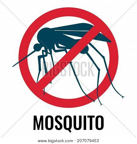 Anti-mosquito label depicting fly with wings and sting in red circle with diagonal line, vector illustration isolated on white background