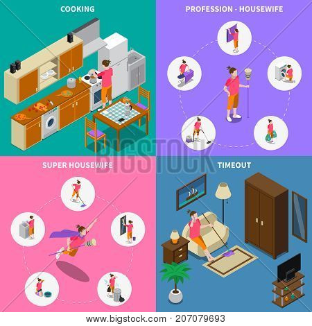 Isometric design concept with professional and super housewife during cooking and break time isolated vector illustration