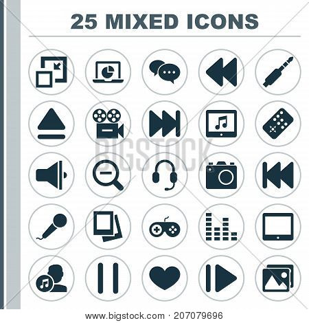 Media Icons Set. Collection Of Infographic, Decrease, Rewind And Other Elements