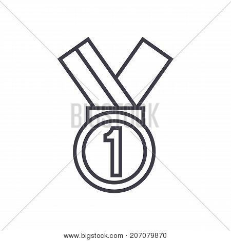 medal, first place vector line icon, sign, illustration on white background, editable strokes