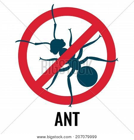 Anti-ant emblem with bug placed in red circle crossed with diagonal line, icon of beetle on vector illustration isolated on white background