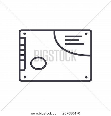 memory card, ssd vector line icon, sign, illustration on white background, editable strokes