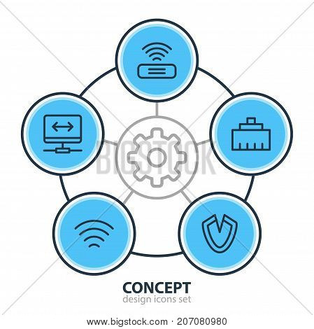 Editable Pack Of Antivirus, Virtual Private Network, Wifi And Other Elements.  Vector Illustration Of 5 Network Icons.