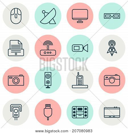 Hardware Icons Set. Collection Of Control Device, Switch, Monitor And Other Elements
