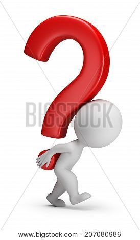 3d small person bears the question mark. 3d image. White background.