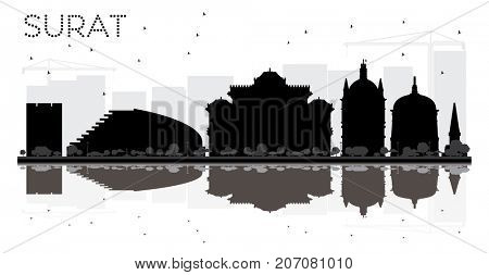 Surat City skyline black and white silhouette with reflections. Simple flat concept for tourism presentation, banner, placard or web site. Business travel concept. Cityscape with landmarks
