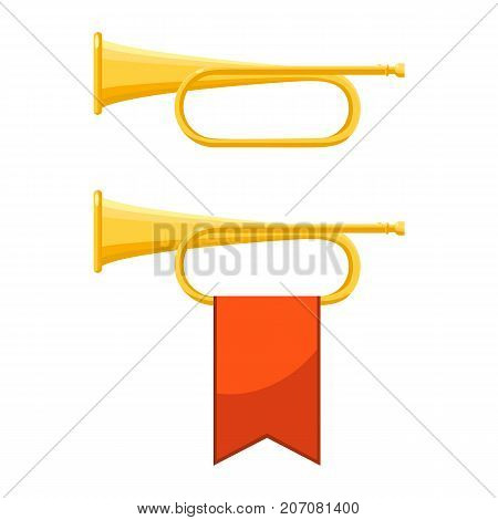 Set of icons of bugles with flag of red colour, and one brass instrument above other, vector illustration isolated on white background