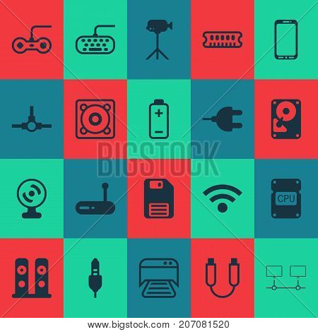 Hardware Icons Set. Collection Of Camcorder, Portable Memory, Hdd And Other Elements