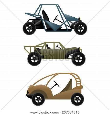 Set of different buggy car types, lightweight automobile with off road capabilities on vector illustration isolated on white background