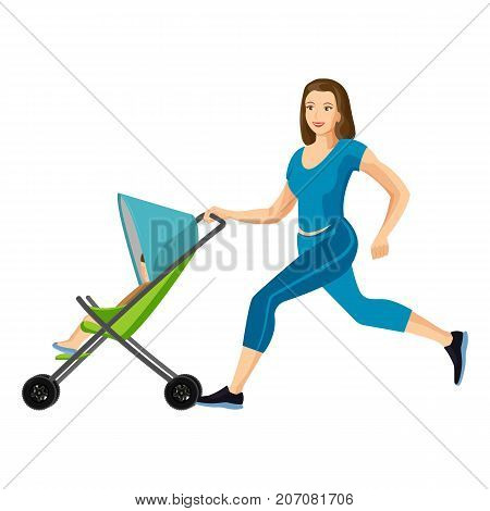 Buggy fit ultimate outdoor fitness class for mums who want to get back into shape after new arrival. Mother jogging with stroller vector illustration