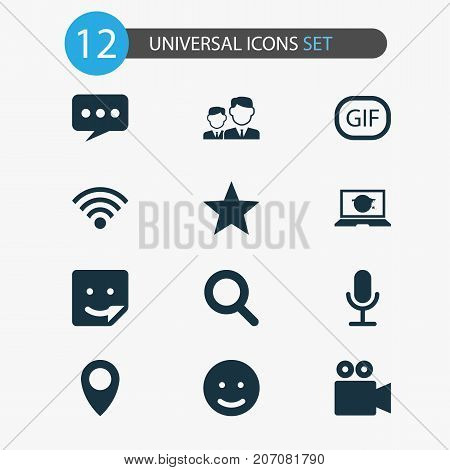 Media Icons Set. Collection Of Wireless Connection, Magnifier, Smile And Other Elements