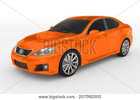 Car Isolated On White - Orange Paint, Tinted Glass - Front-left Side View