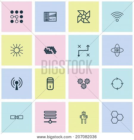 Learning Icons Set. Collection Of Cyborg, Computing Problems, Mechanism Parts And Other Elements