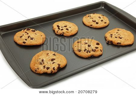 Chocolate Chip Cookies On Baking Sheet
