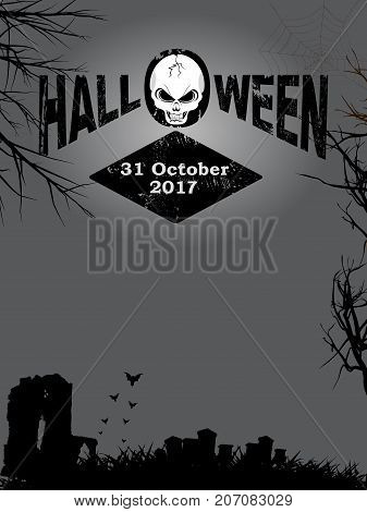 Halloween Decorative Text with Skull and Date Over Dark Creepy Background with Trees Graveyard and Bats