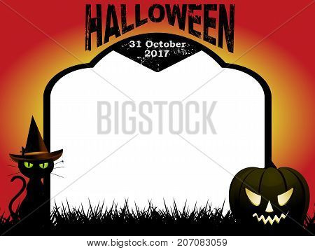 Halloween Copy Space Blank Tombstone with Decorative Text abd Date cat and pumpkin Over Red and Yellow Background