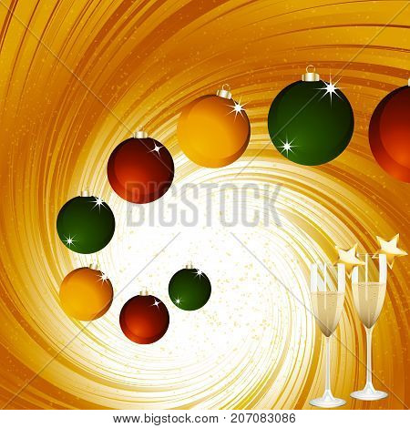Golden Festive Vortex Background with Christmas Baubles and Champagne Glasses with Stars