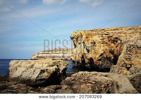 Azure window, crashed Azure Window place , Malta , Gozo island .