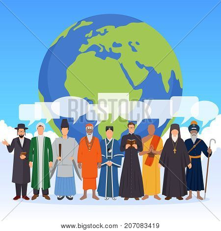 People from world religions with transparent speech bubbles flat composition with globe on blue background vector illustration