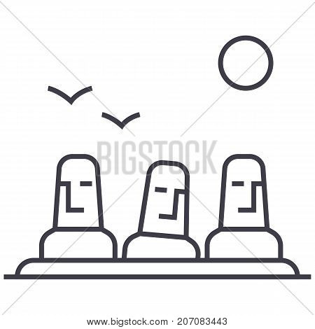 monolith, megalith vector line icon, sign, illustration on white background, editable strokes