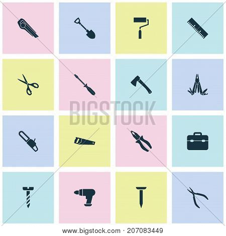 Handtools Icons Set. Collection Of Turn-Screw, Paint, Multifunctional Pocket And Other Elements