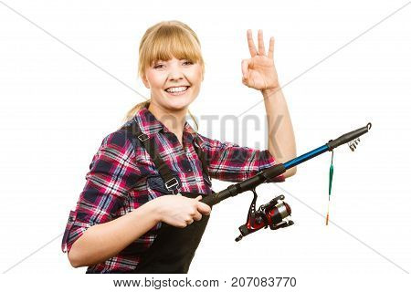 Woman With Fishing Rod Showing A Ok